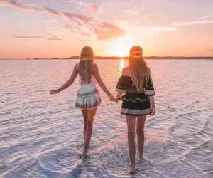 best friends, sea, and sunset image