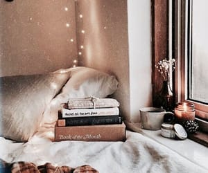 books, snow, and cousy image