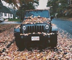 fall, autumn, and jeep image