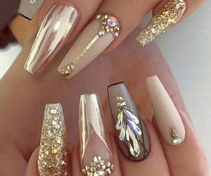 nails, beauty, and gold image