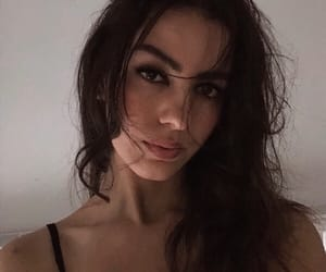 brunette, eyeliner, and lips image