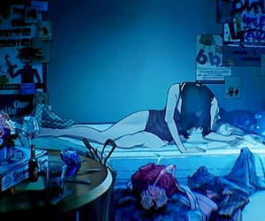 bedroom, blue, and astral projection image