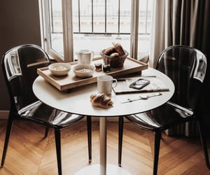 breakfast, chairs, and coffee image