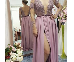 lace appliqed prom dress image