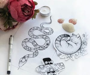 art, snake, and cat image