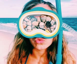 beach, seashells, and snorkel image