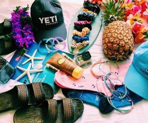 hats, sandals, and pineapple image