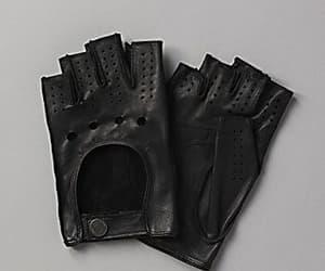 black, black gloves, and gloves image