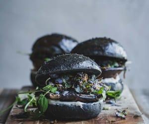 burger, vegan, and black image
