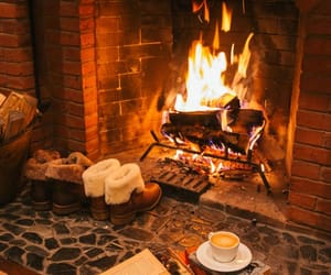 fireplace, fire, and book image