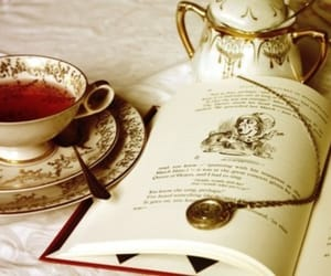 book, tea, and alice in wonderland image