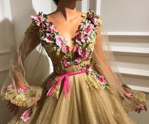 dress, flowers, and gold image