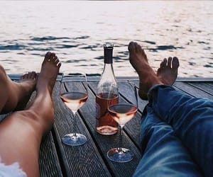 couple, wine, and relax image