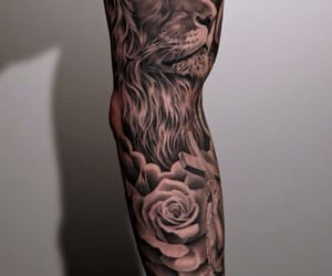 tattoo, lion, and rose image