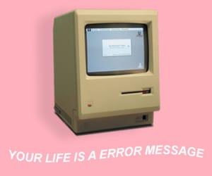 computer, error, and pink image