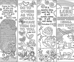 cute animals, bible verses, and coloring bookmarks image