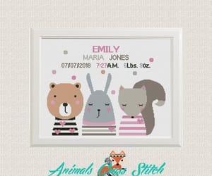 animals, baby, and cross stitch image