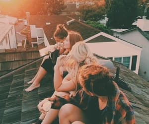 friendship, rooftop, and waiting image