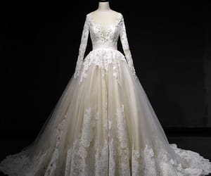 bridal gown, lace, and classic wedding dress image