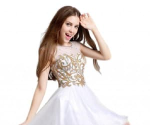 cheap prom dress, high neck prom dress, and homecoming dress short image