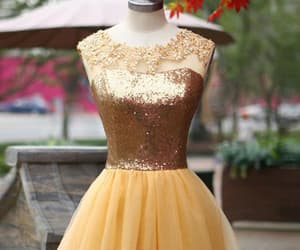 backless prom dress, yellow homecoming dresses, and sequin prom dress image