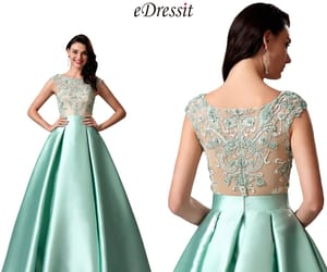 ball gown, green formal dress, and embroidery evening gown image