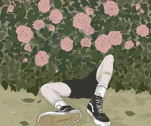 art, roses, and vans image