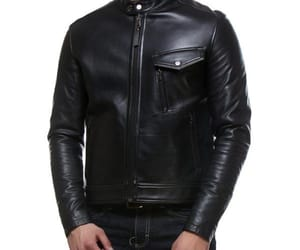 black leather jacket, men biker jacket, and men biker leather jacket image