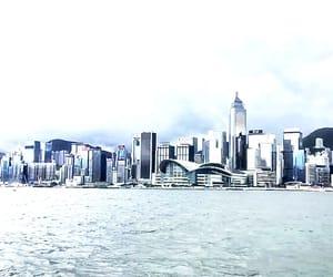 buildings, girl, and hong kong image