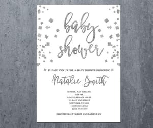 silver glitter, girl baby shower, and boy baby shower image