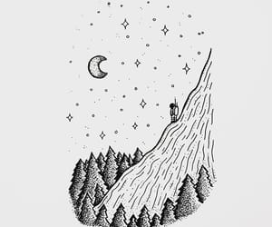 black and white, drawing, and moon image