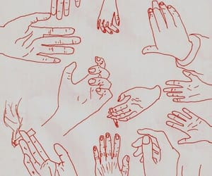 hands, art, and red image
