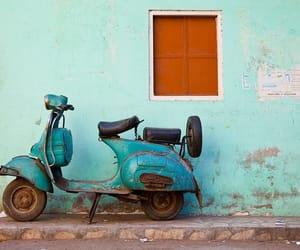blue, Vespa, and vintage image