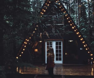 cabin, girl, and light image