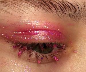 pink, eye, and glitter image