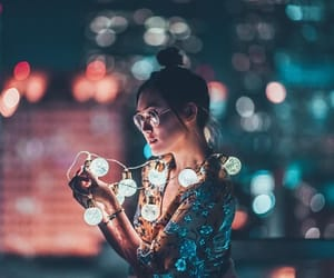 lights, girl, and photography image
