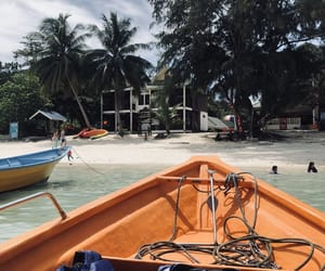 beach, sand, and boat image