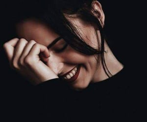 girl, smile, and black image