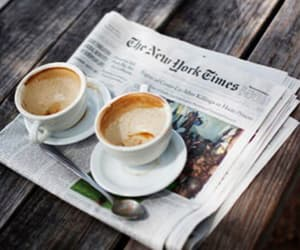 coffee, newspaper, and new york times image