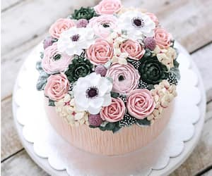 cake, flowers, and Fleurs image