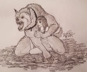 drawing, fantasy, and werewolf image