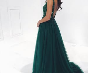 dress, prom dress, and green dress image