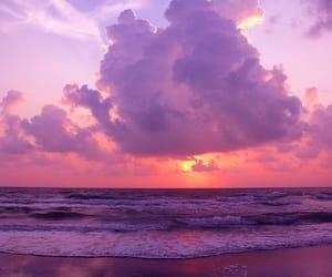 beach, ocean, and sunrise image