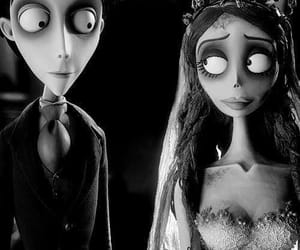 tim burton, corpse bride, and black and white image