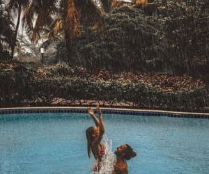 couple, rain, and summer image