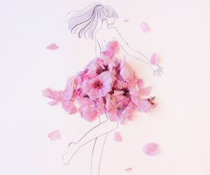 drawing, dress, and flowers image