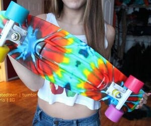 girl, pretty, and skateboard image