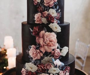 black, cake, and flowers image