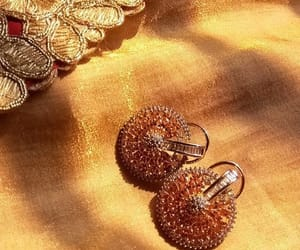 earrings, gold, and indian image