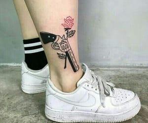 tattoo, flowers, and gun image